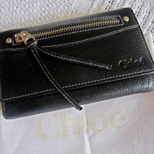 Chloe Black Leather Zip Wallet