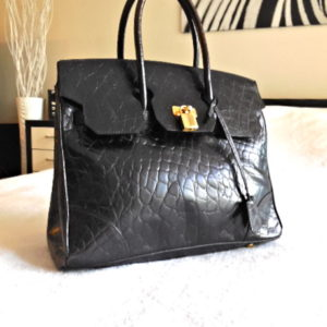 Black Croc Embossed Leather Tote