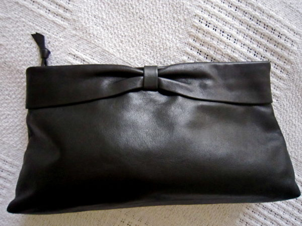Black Leather Accessories Pouch