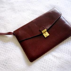 Burgundy Leather Wristlet