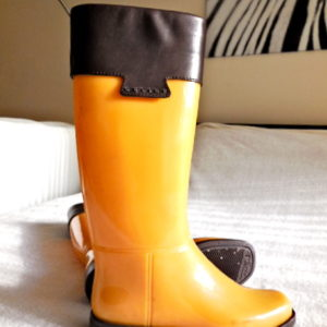 Celine Yellow Rubber Rain Boots