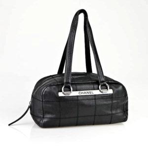Chanel Black Caviar Leather East West Satchel Bag