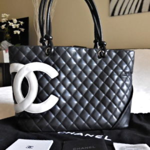 Chanel Black Lambskin Cambon CC Tote Bag