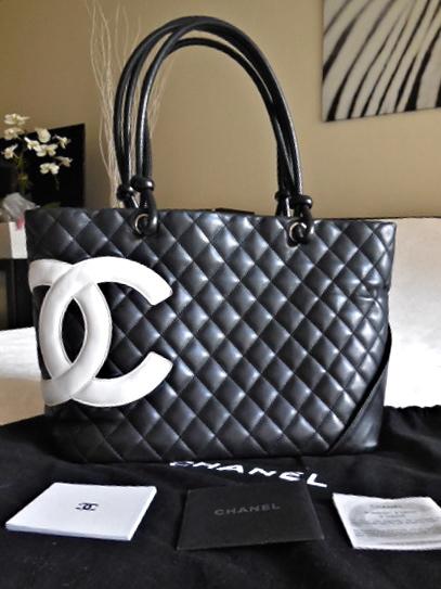 Chanel Black Lambskin Cambon CC Tote Bag