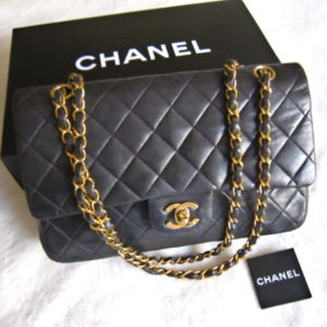 Chanel Black Quilted Lambskin Classic Medium 2.55 Double Flap Purse