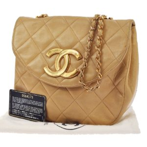Chanel Jumbo Chain 9 Quilted Caviar Leather Beige Bag