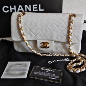 Chanel Quilted White Lambskin Classic Double Flap 2.55 Handbag