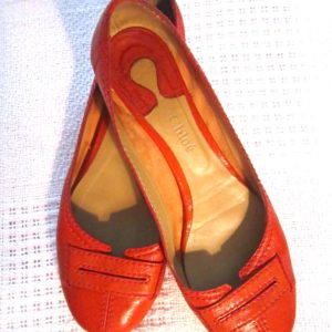 Chloe Red Leather Ballerina Flats
