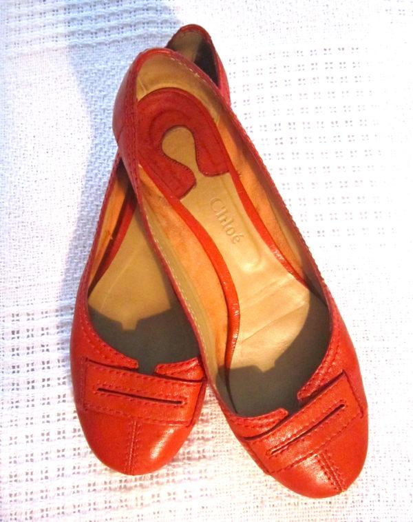 Chloe Red Leather Ballerina Flats