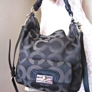 Coach Black Kristin Op Art Handbag