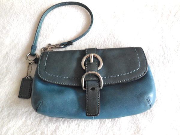 Coach Blue Leather Clutch