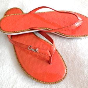 Coach Orange Devlynn Flip-Flops