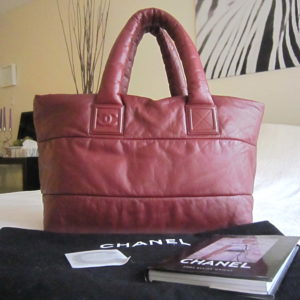 Chanel Coco Cocoon Burgundy/Black Lambskin Reversible Tote Bag
