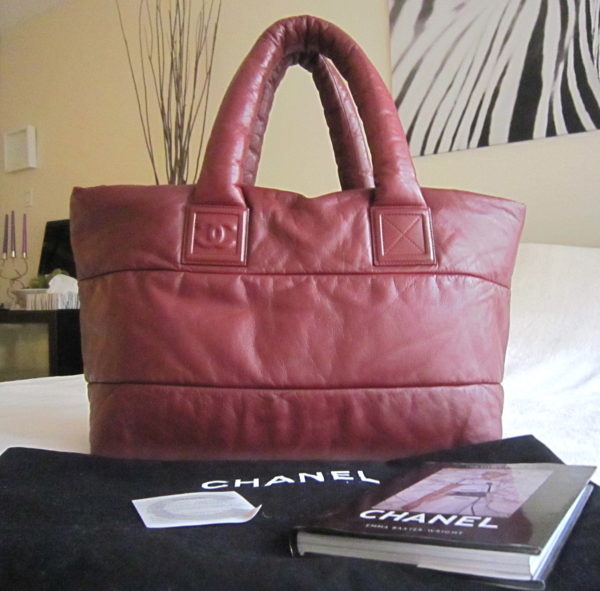 Chanel Coco Cocoon Burgundy/Black Lambskin Reversible Tote Bag