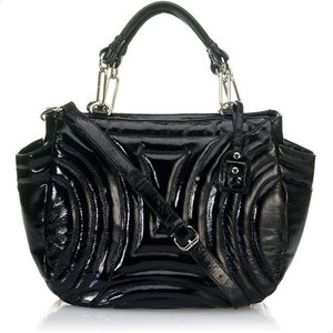 Cynthia Rowley Black Penny Gloss Patent Embossed Tote Bag