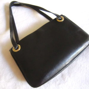 Desmo Black Snakeskin Leather Handbag