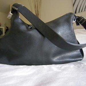 Dissona Black Leather Hobo Bag