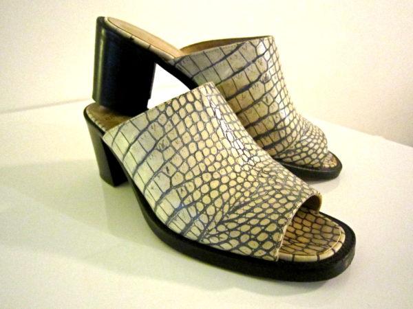 FREE LANCE White Snakeskin Mules