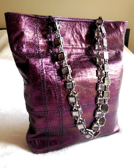 Facondini Purple Leather Handbag