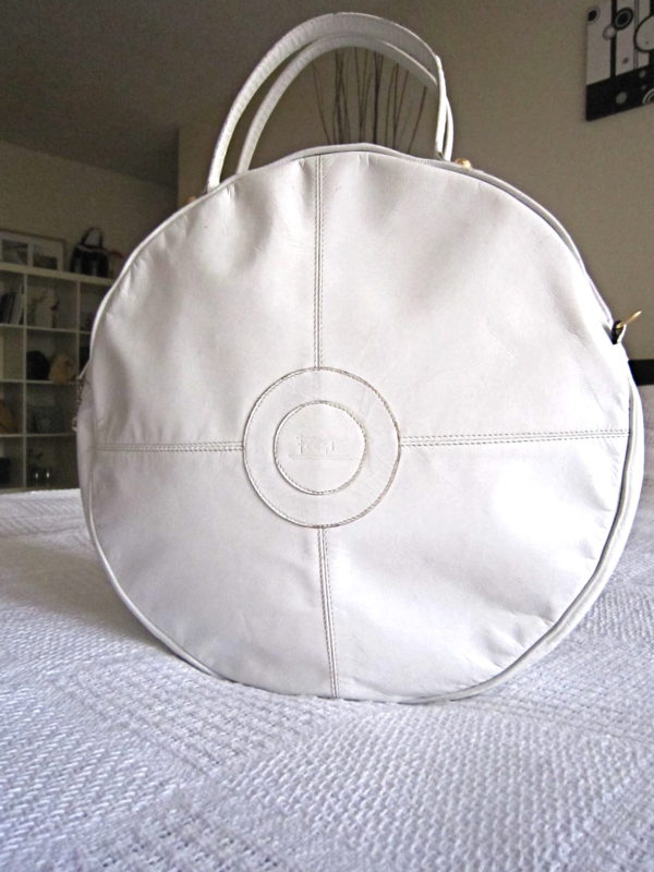 Feggi Vintage White Leather Bulls-Eye Handbag