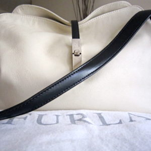 Furla White & Black Leather Hobo Bag