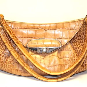 Furla Yellow Croc Embossed Leather Hobo Bag