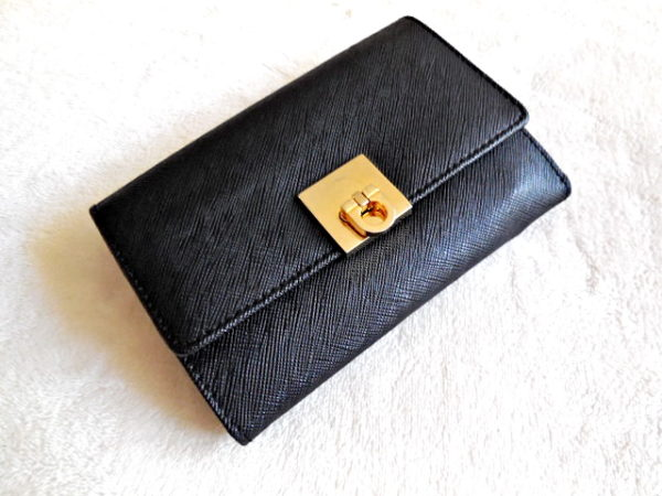 Gancini Black Leather Bi-Fold Wallet
