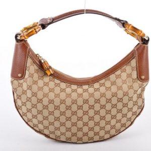 Gucci Monogram GG Bamboo Saddle Hobo Bag-