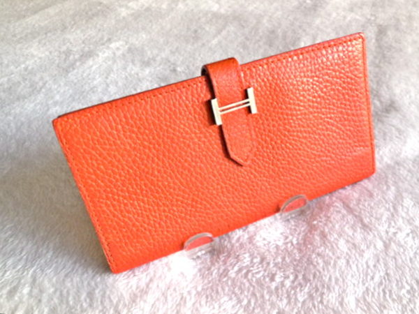 Hermes Orange Epsom Bearn H-Wallet
