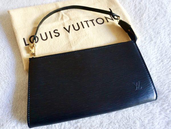 Louis Vuitton Black Epi Leather Pochette Handbag