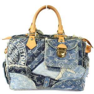 Louis Vuitton Blue Denim Patchwork Speedy 30 Handbag