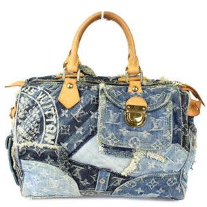 Louis Vuitton Blue Denim Patchwork Speedy 30 Handbag