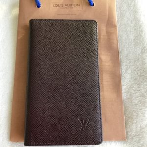 Louis Vuitton Dark Brown Taiga Checkbook Wallet