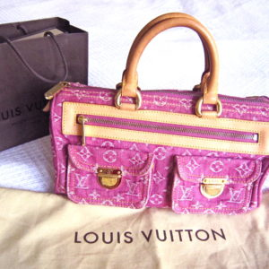 Louis Vuitton Fuchsia Monogram Denim Neo Speedy Handbag