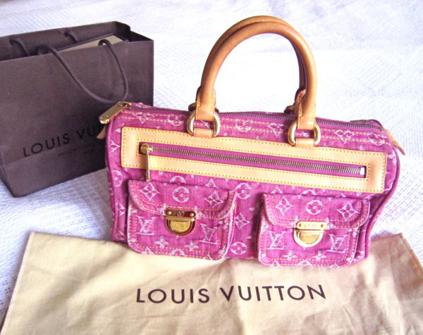 Louis Vuitton Fuchsia Monogram Denim Neo Speedy Handbag