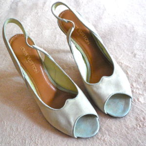 Louis Vuitton Light Green Suede LV Logo Heels : 10