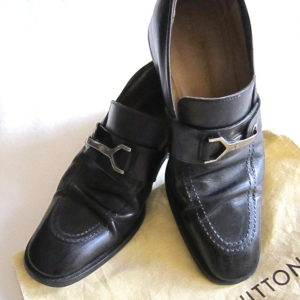 Louis Vuitton Mens Black Loafer Buckle Dress Shoes