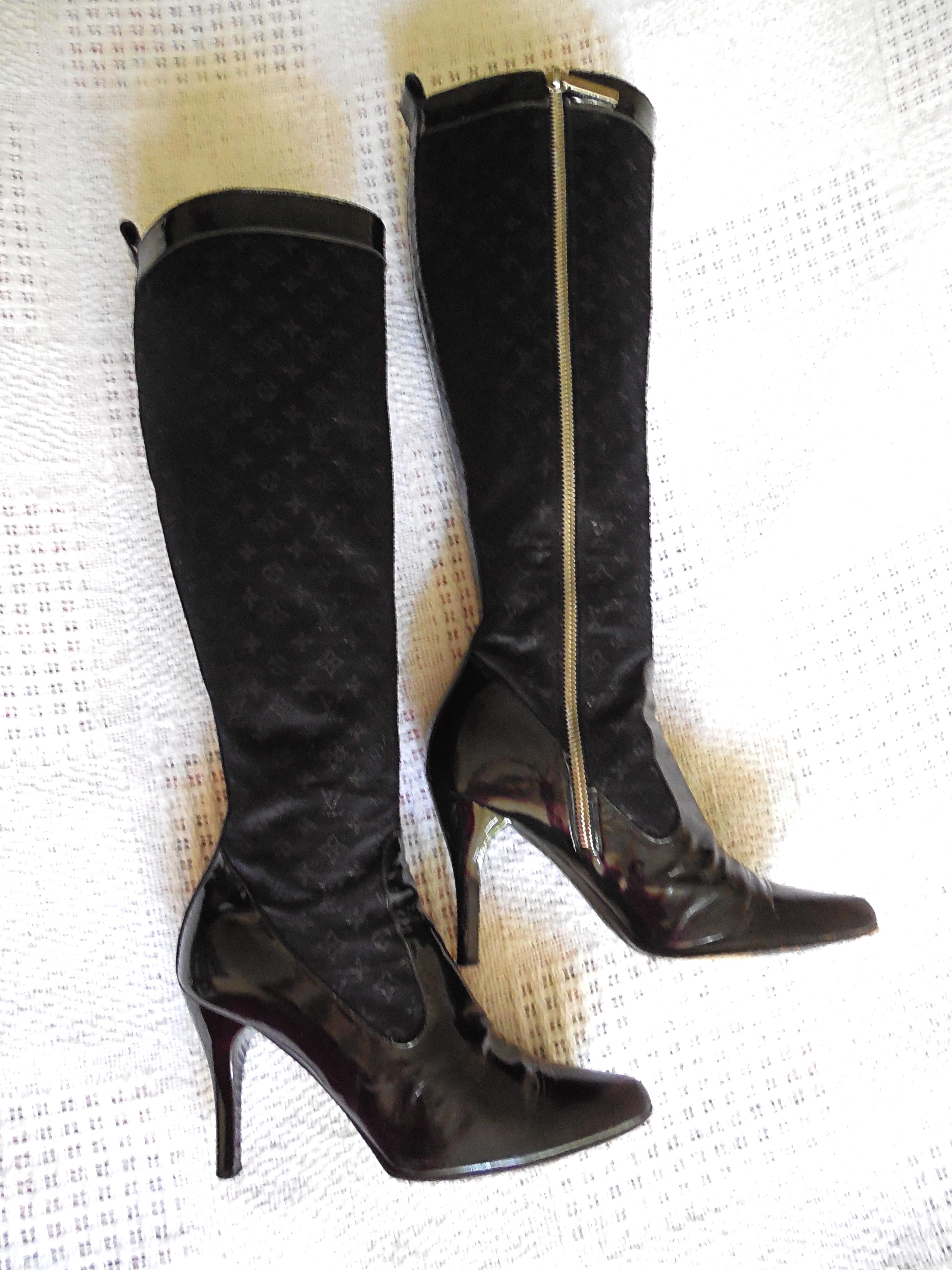 Louis Vuitton Mini Lin Black High Boots