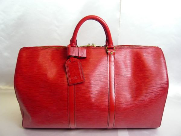 Louis Vuitton Red Epi Keepall 50 Duffel Bag