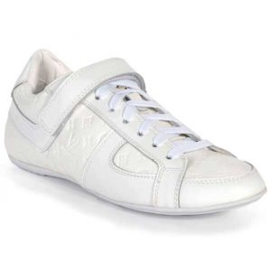 Louis Vuitton White Globe Trotter Embossed Leather Sneakers