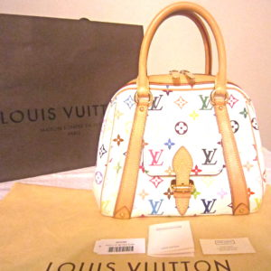 Louis Vuitton x Takashi Murakami White Multicolor Monogram Priscilla Handbag