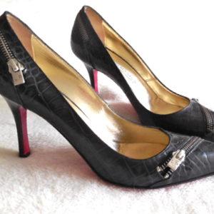 Luciano Padovan Black Snakeskin Stiletto Heels