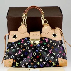 Louis Vuitton x Takashi Murakami Black Multicolor Monogram Ursula Handbag