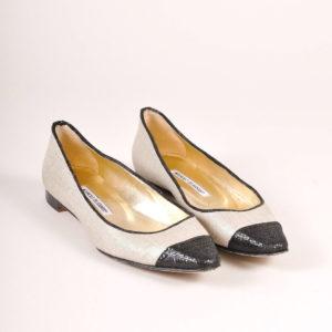 Manolo Blahnik Gold Canvas Ballet Flats