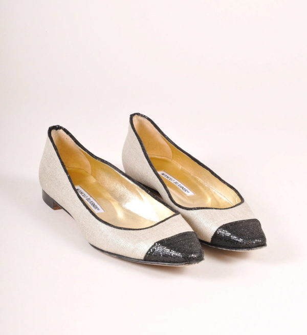 Manolo Blahnik Gold Canvas Ballet Flats