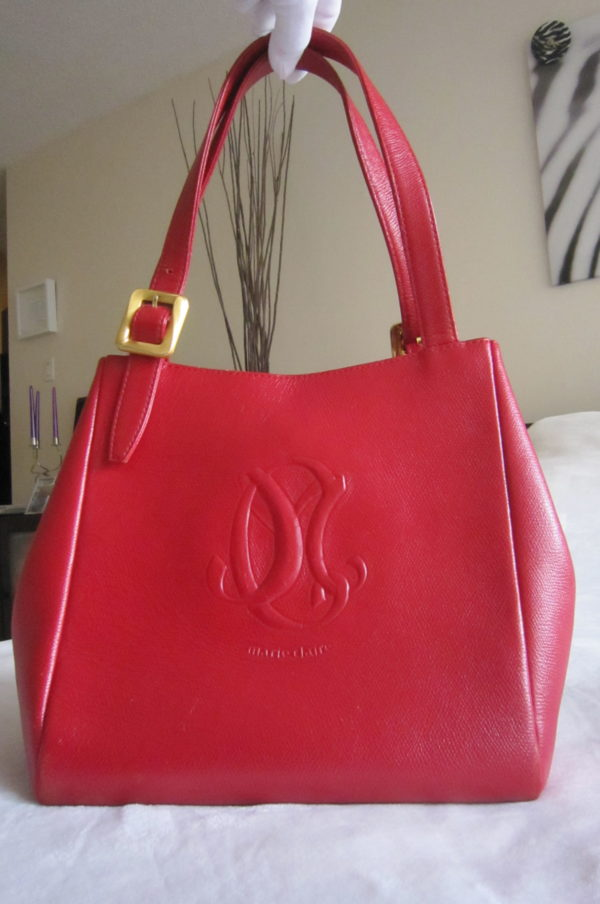 Marie Claire Vintage Red Leather Tote Bag