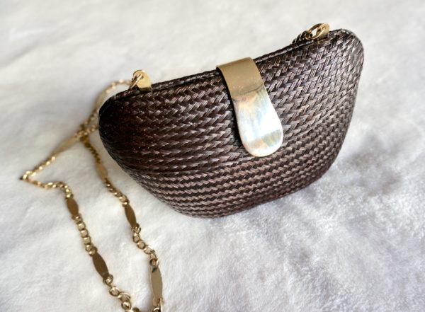 Mini Wicker Evening Bag on Chain-1