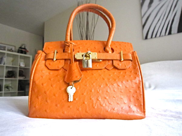 Orange Genuine Leather Satchel