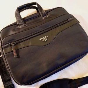 Prada Black Multifolder Business Briefcase