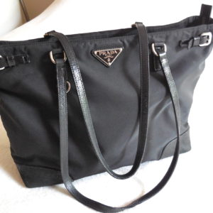 Prada Black Nylon & Leather Tote